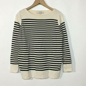 Ann Taylor LOFT Striped Black Cream Sweater Top